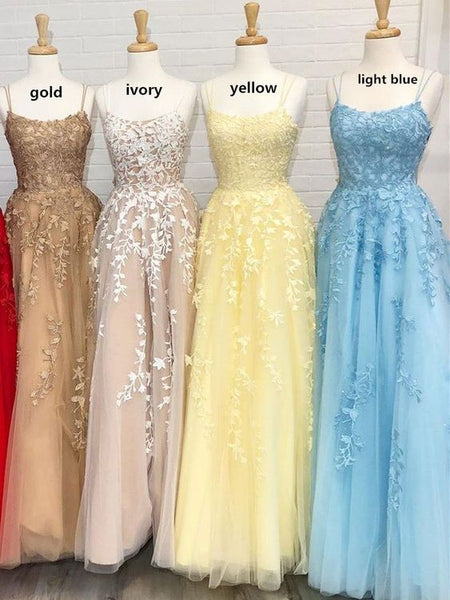 Hot Yellow tulle lace long prom dress party dress S35