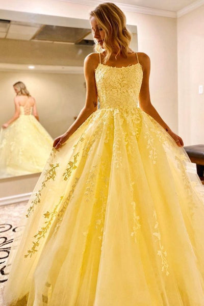 Hot Yellow tulle lace long prom dress party dress S36