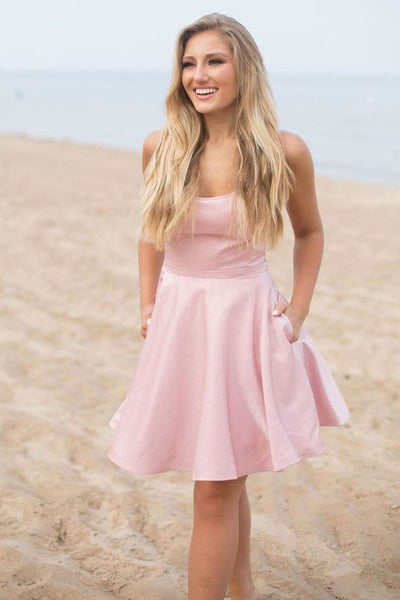 Simple pink satin short prom dress pink homecoming dress S416