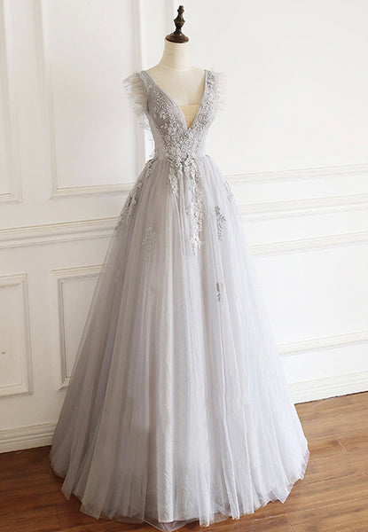 Gray v neck tulle lace long prom gown women fashion S709