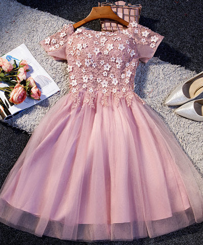 Pink tulle lace short prom dress, pink homecoming dress S93