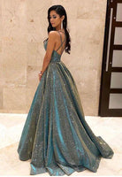 2020 Fashion Ball Gown V Neck Sparkly Satin Long Prom Dresses with Pockets, Cross Back Evening Dresses 004
