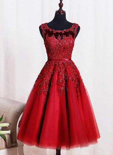 Beautiful Red Homecoming Dress, Red Tea Length Tulle Party Dress KS5942
