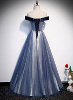 Dark blue velvet tulle long prom dress party dress a03