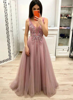 Pink v neck tulle long prom dress pink evening dress a04