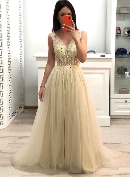 Champagne v neck tulle beads long prom dress a06