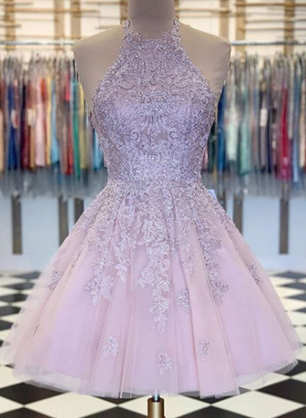 Pink tulle lace short prom dress homecoming dress a14
