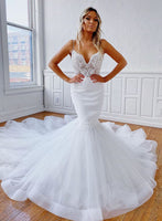 White lace tulle prom dress mermaid evening dress a27