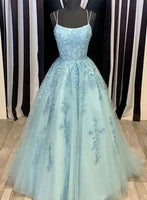 Blue tulle lace long prom dress evening dress a30