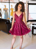 Cute lace tulle a line short prom dress cocktail dress a42