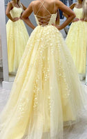 046, Hot Yellow tulle lace long prom dress party dress