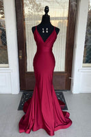 Simple burgundy v neck satin mermaid long prom dress burgundy evening dress KS4138