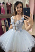 Blue v neck lace short prom dress homecoming dress KS3987