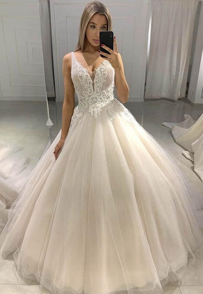 Light champagne tulle lace prom dress formal dress KS4092