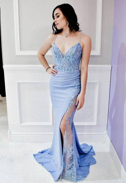 Unique blue lace long prom dress evening dress KS4068