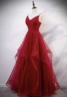 Burgundy tulle floor length prom gown formal dress KS4086