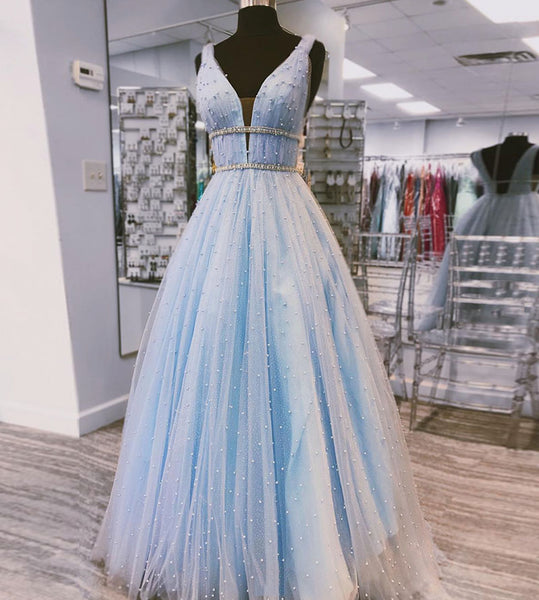 light blue tulle prom dresses long prom gown b265