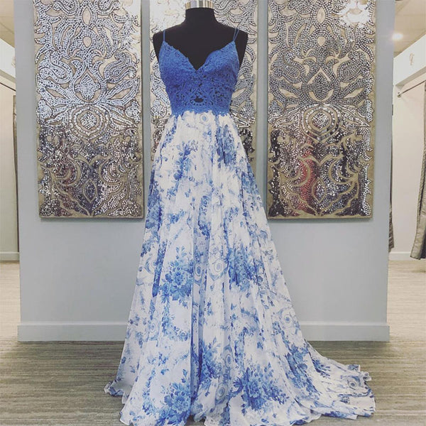 Blue lace long prom gown party dress b266
