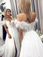 White tulle lace long prom dress, lace evening dress b318