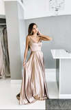 Champagne satin long prom dress, champagne evening dress B536