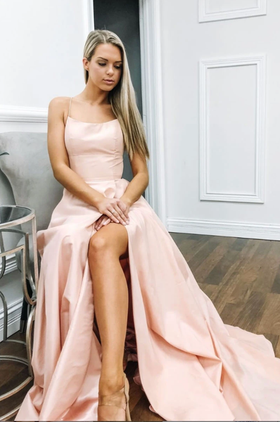 Simple pink satin long prom dress, pink evening dress B537