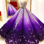Stunning Purple Princess Quinceanera Dresses Crystal Beads Sash Butterfly Lace Appliques Ball Gown Prom Gowns 1026
