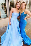 A Line Light Blue Prom Dresses Formal Evening Gowns H3988