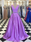 Purple Prom Dress,Two Pieces Prom Dress,A-Line Prom Dress,Satin Prom Dress P483