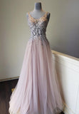 Pink v neck lace long prom dress evening dress KS3965
