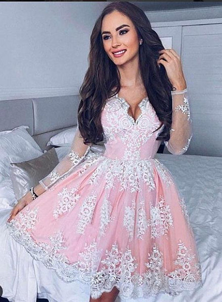 Cute white lace long sleeve short prom dress, cute homecoming dress KS3929