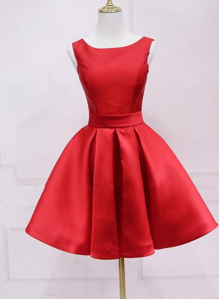 Red Satin Short Simple Backless Party Dress, Red Homecoming Dress KS4693