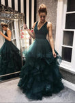 Dark green tulle prom dress green evening dress KS1511