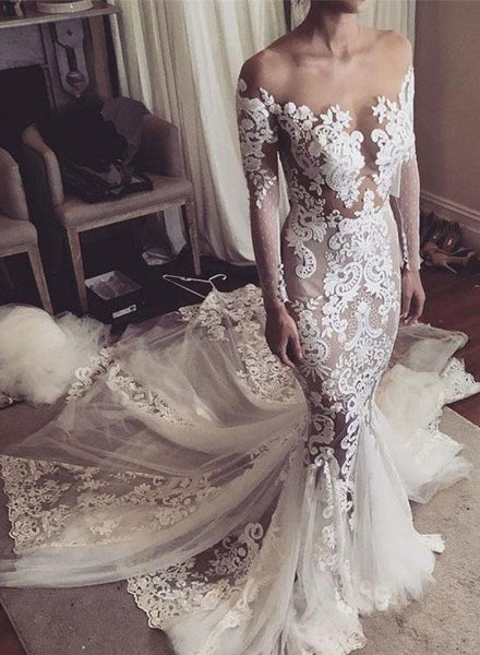 Mermaid lace long wedding dress, lace wedding dress KS2993