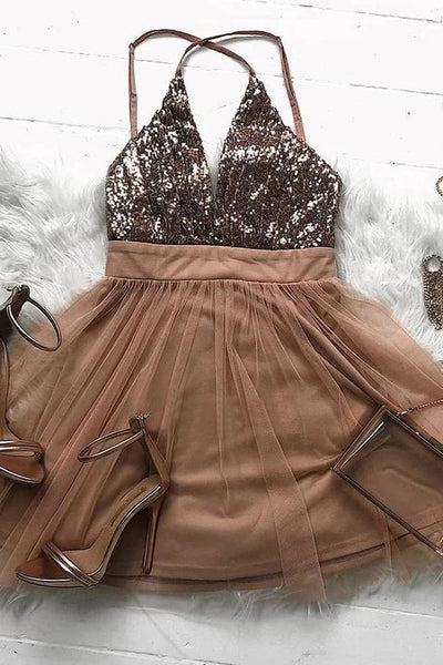Sparkly Brown Tulle A Line Short Prom Dress,Homecoming Party Dress KO74