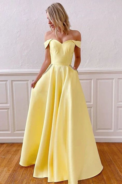 off the shoulder yellow satin long prom dress with pockets , 1768