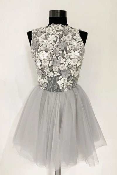 Gray Tulle Lace Short Prom Dress, A Line Flowers Homecoming Dress KP44