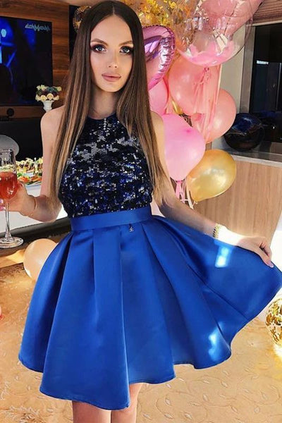 A-Line Royal Blue Satin Homecoming Dresses With Lace Top KO48
