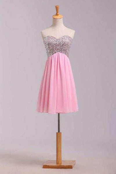 2019 Homecoming Dresses Empire Waist Sweetheart Short/Mini Chiffon With Sequins cg1441