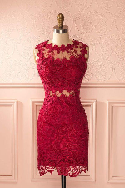 2019 Homecoming Dresses sheath red lace dress   cg3261