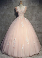 2019 Pink tulle lace long prom gown, pink evening dress cg3771