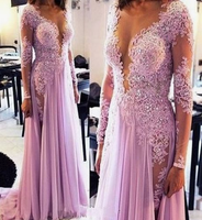 2019 Long Sleeve V neck Chiffon Appliques Evening Dress, Formal Prom Dress, Sexy Evening Gown cg4320