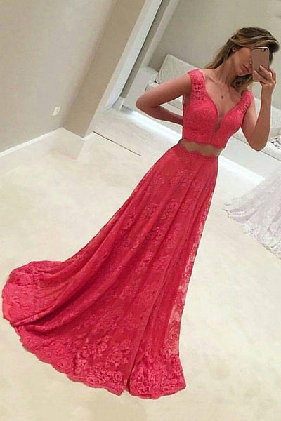 2019 Lace Two-Piece A Line V Neck Prom Dresses Sweep Train cg4722