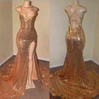 Sexy Gold Sequin Spaghetti-Straps Slit Prom Dresses  cg6260
