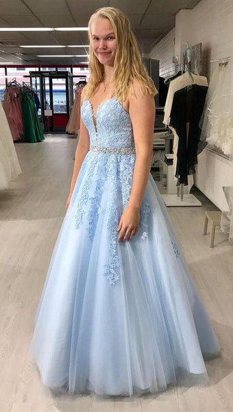 formal light blue prom dresses, princess lace prom gowns, chic graduation party dresses for teens  cg6272