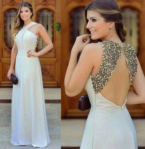 White Open Back Long Prom Dresses with Beaded   cg6577