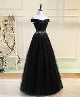 Black tulle sequin long prom dress, black tulle evening dress  cg6597