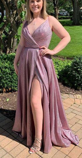 Straps V Neck Long Prom Dress Fuchsia Silver Formal Evening Gown with Slit   cg6632