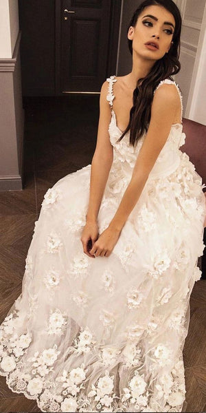 Straps Sweetheart Lace 3D Appliques Prom Dress, Long Formal Dress   cg6635
