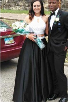 Boho Prom Dresses, Cheap A Line Satin Black With White Two Pieces Halter Prom Dresses  cg6642