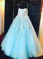 Baby blue tulle long A-line senior prom dress  cg6650